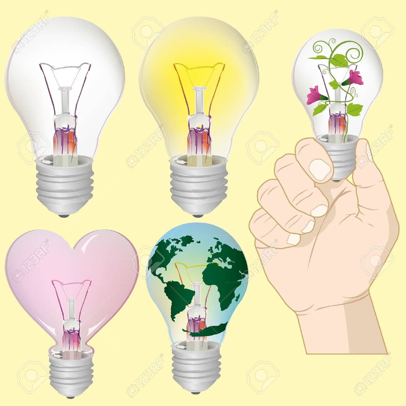 Light bulb idea collection Stock Vector - 18237096