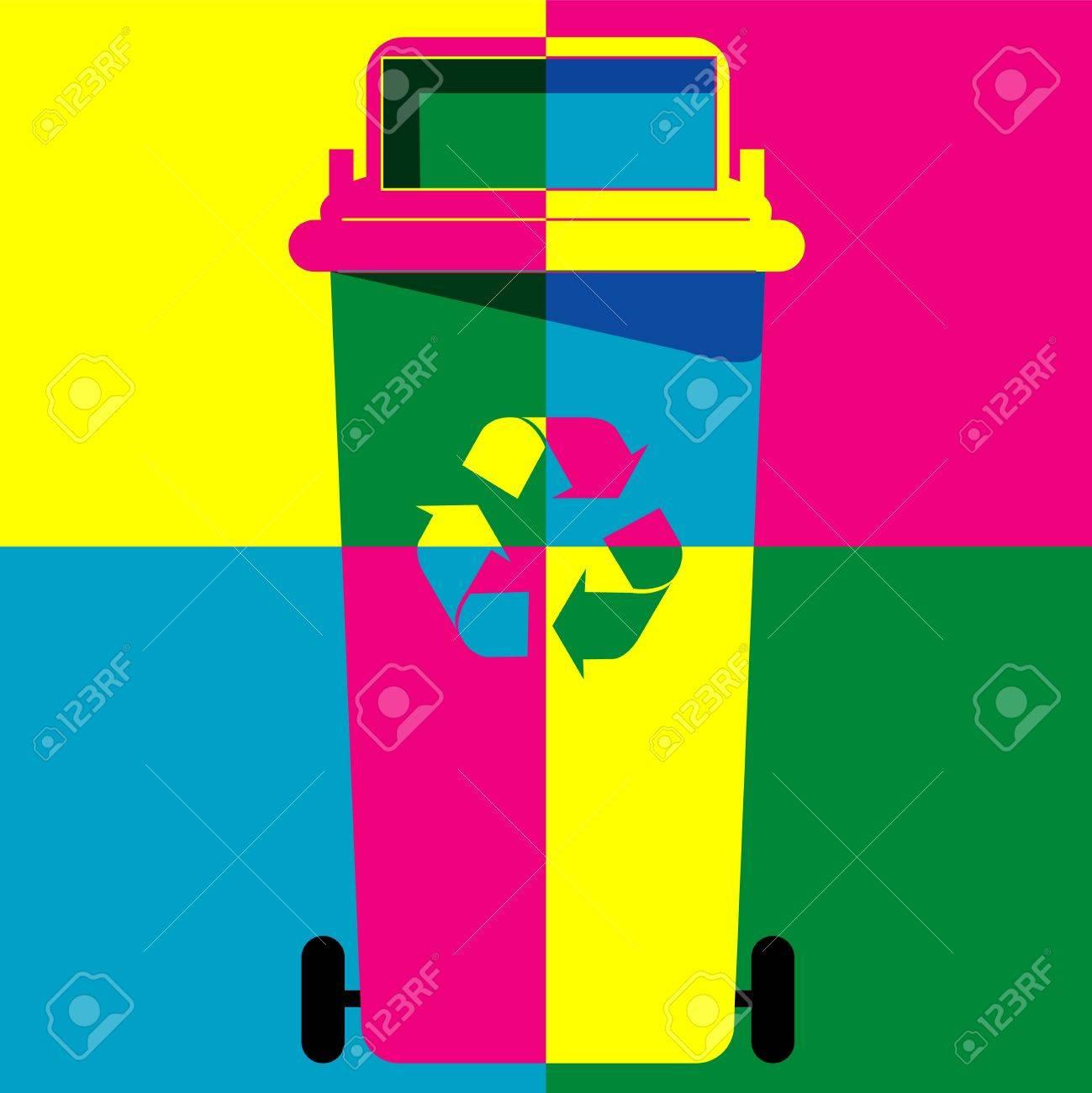 recycle bin colour art vector Stock Vector - 20239385