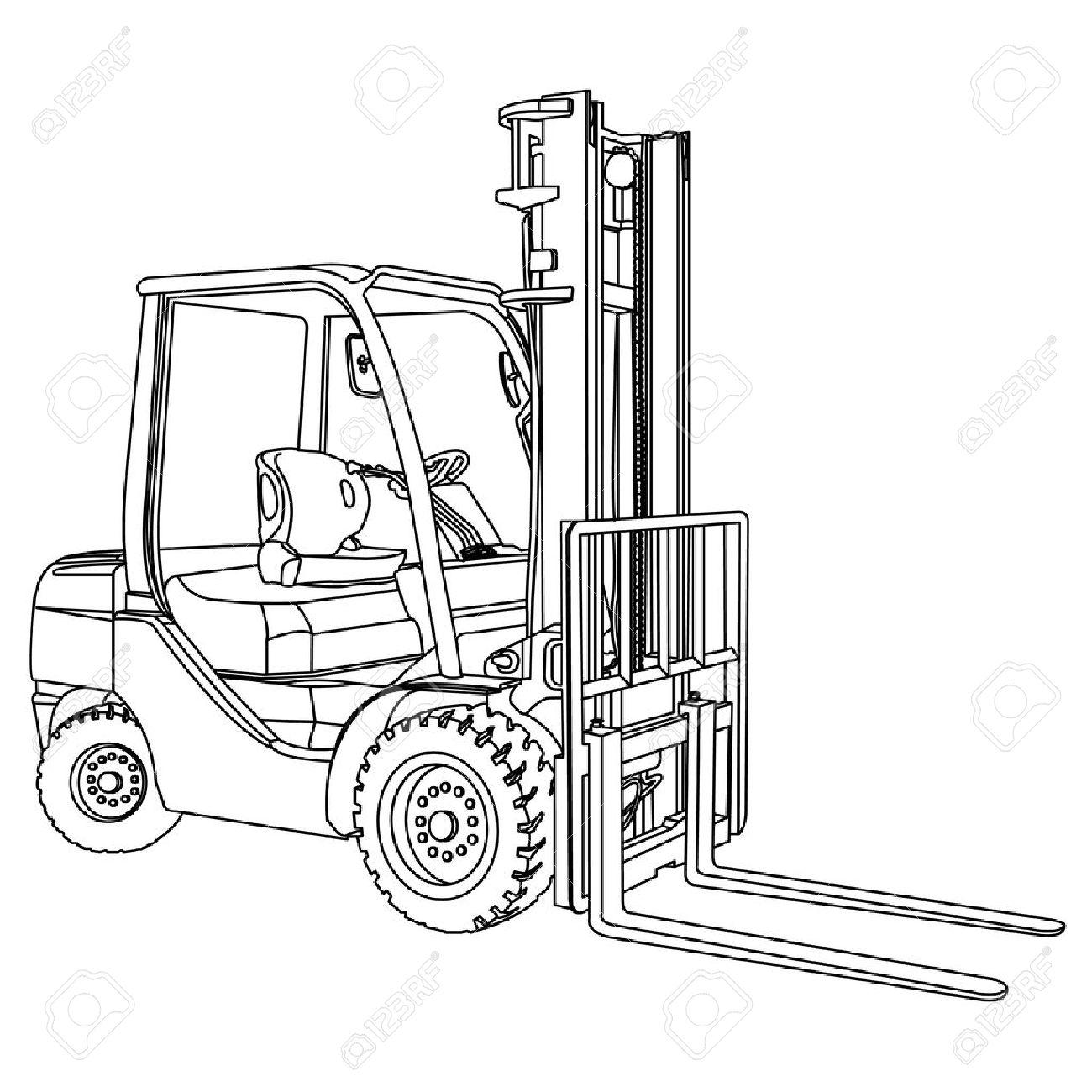 Forklift outline vector - 23660320