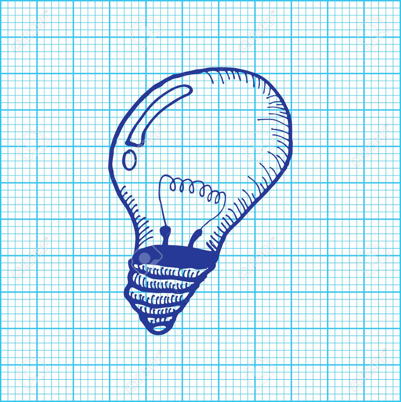 drawing of light bulb on graph paper vector royalty free cliparts