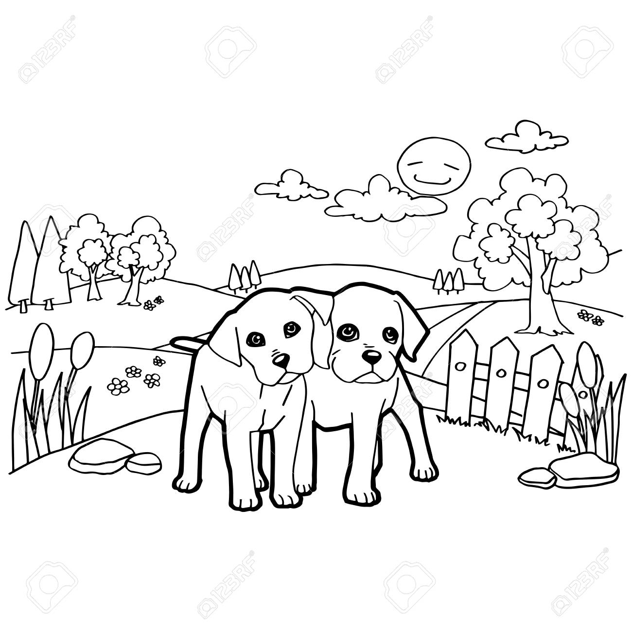 Coloring Book With Dog Royalty Free Cliparts, Vectors, And Stock ...