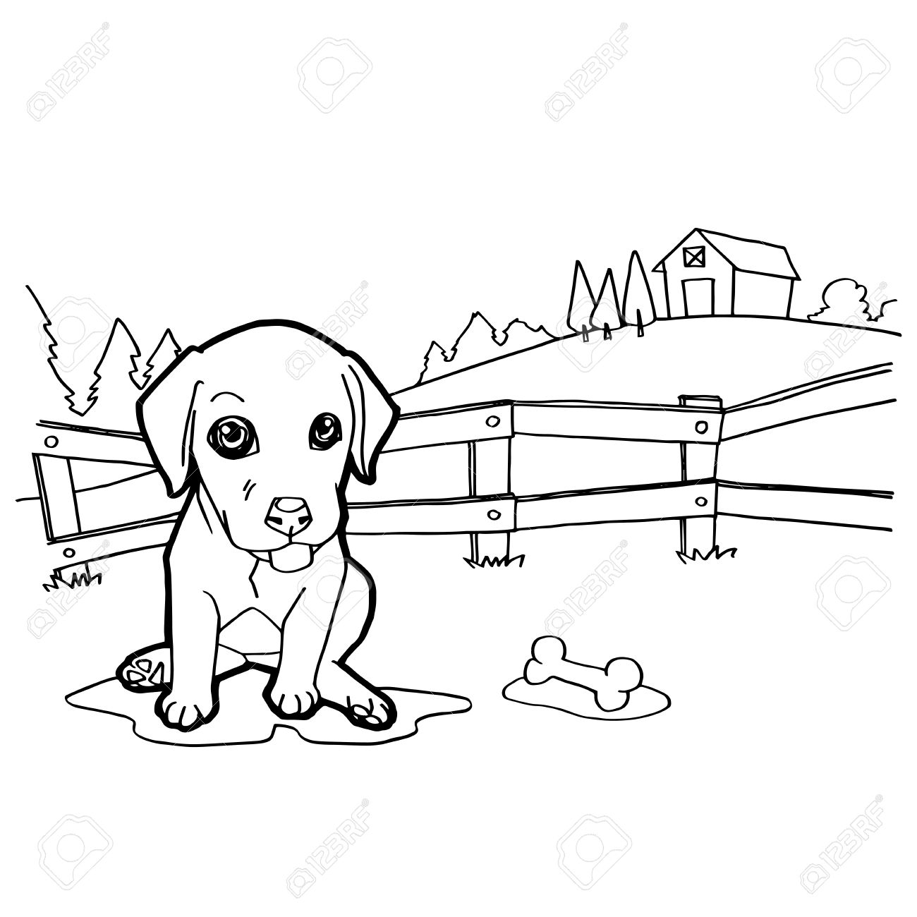 Coloring Book With Dog And Landscape Stock Vector