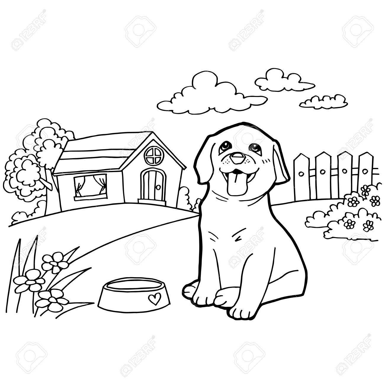 犬と風景の塗り絵のイラスト素材ベクタ Image 42723926