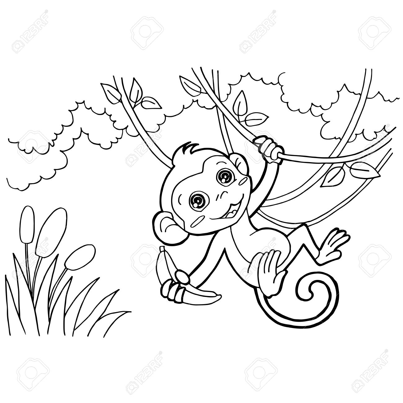 monkey cartoon coloring pages vector royalty free cliparts