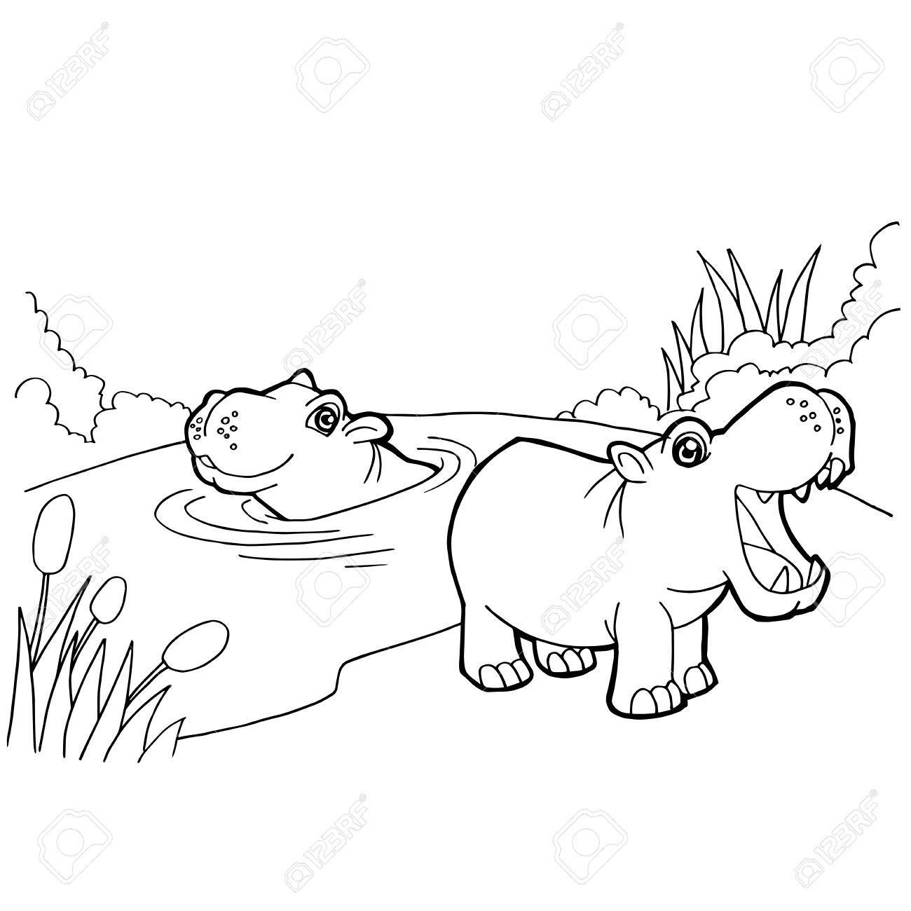 Hippopotamus Cartoon Coloring Pages Vector Royalty Free Cliparts