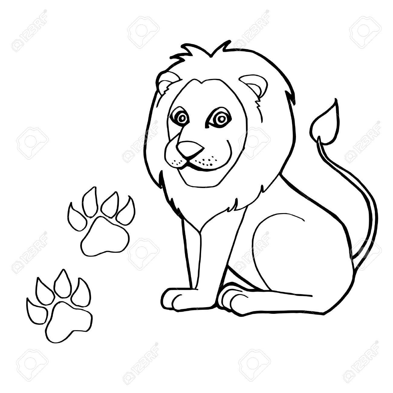 Paw Print With Lions Coloring Pages Stock Vector