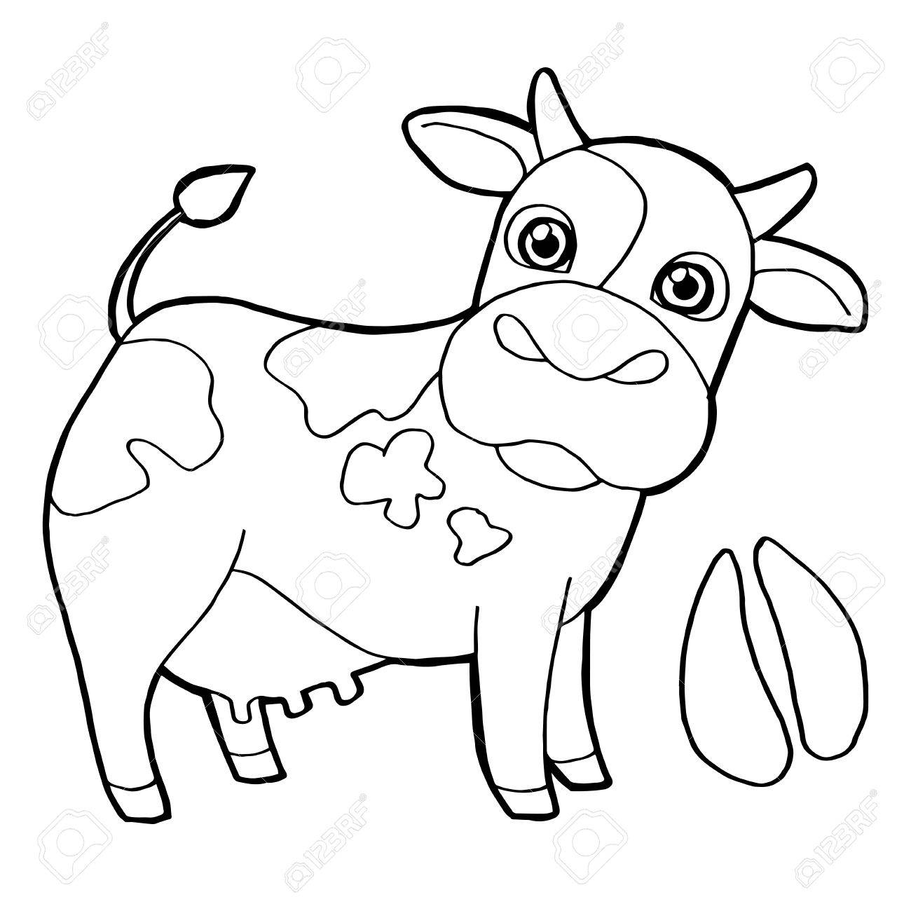 Cattle With Paw Print Coloring Pages Vector Stock