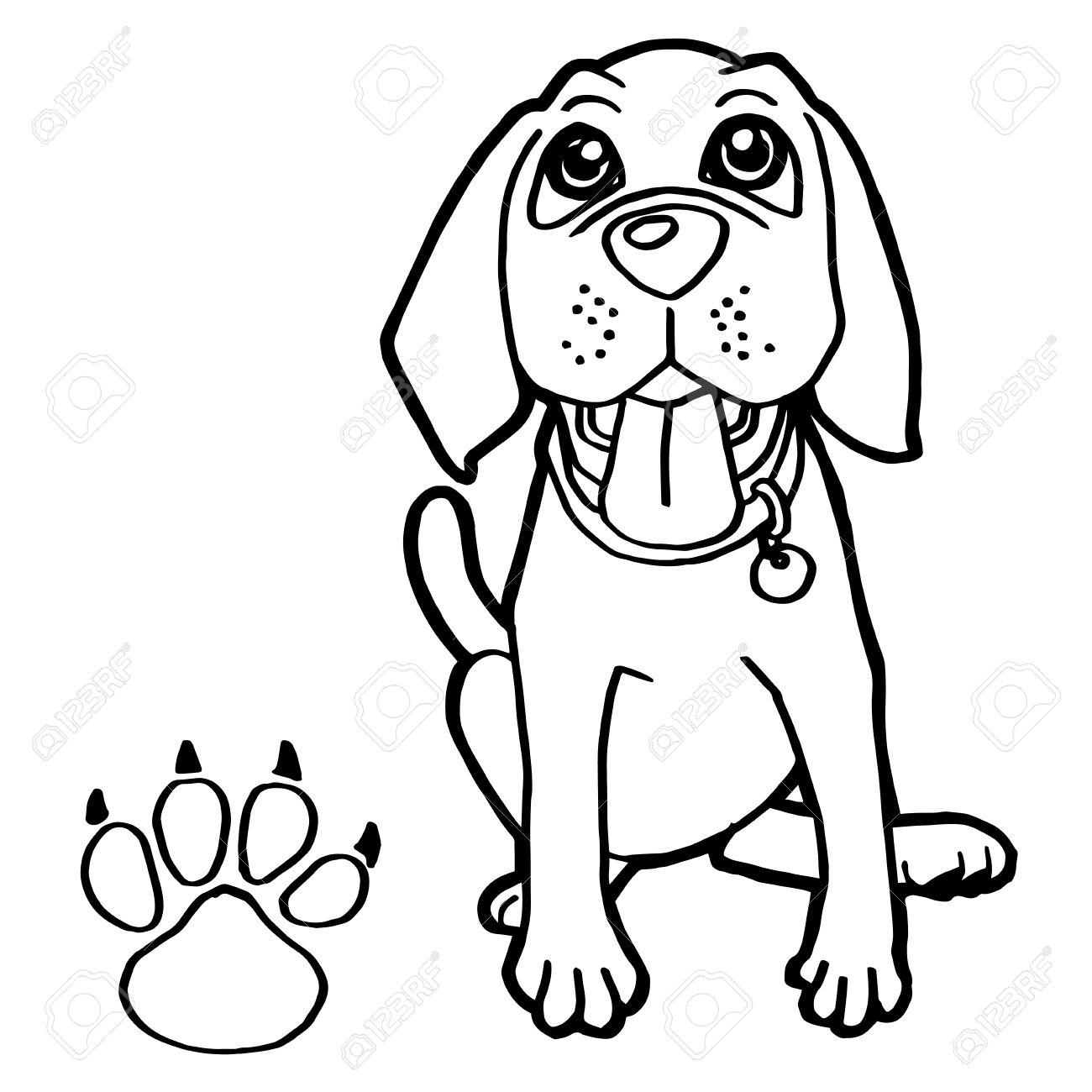 Perro Con Pata De Impresión Colorear Vectorial Ilustraciones ...