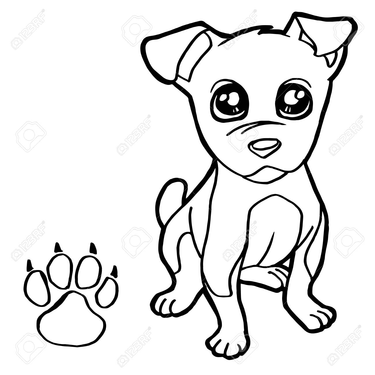 Dog With Paw Print Coloring Page Vector Royalty Free Cliparts