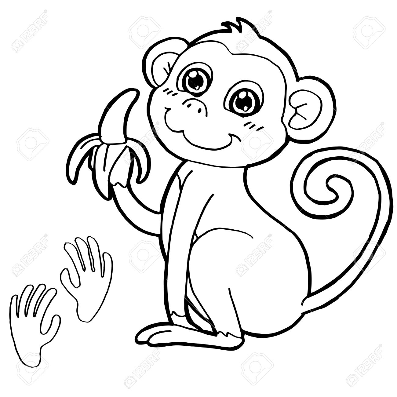 Monkey With Paw Print Coloring Page Vector Stock