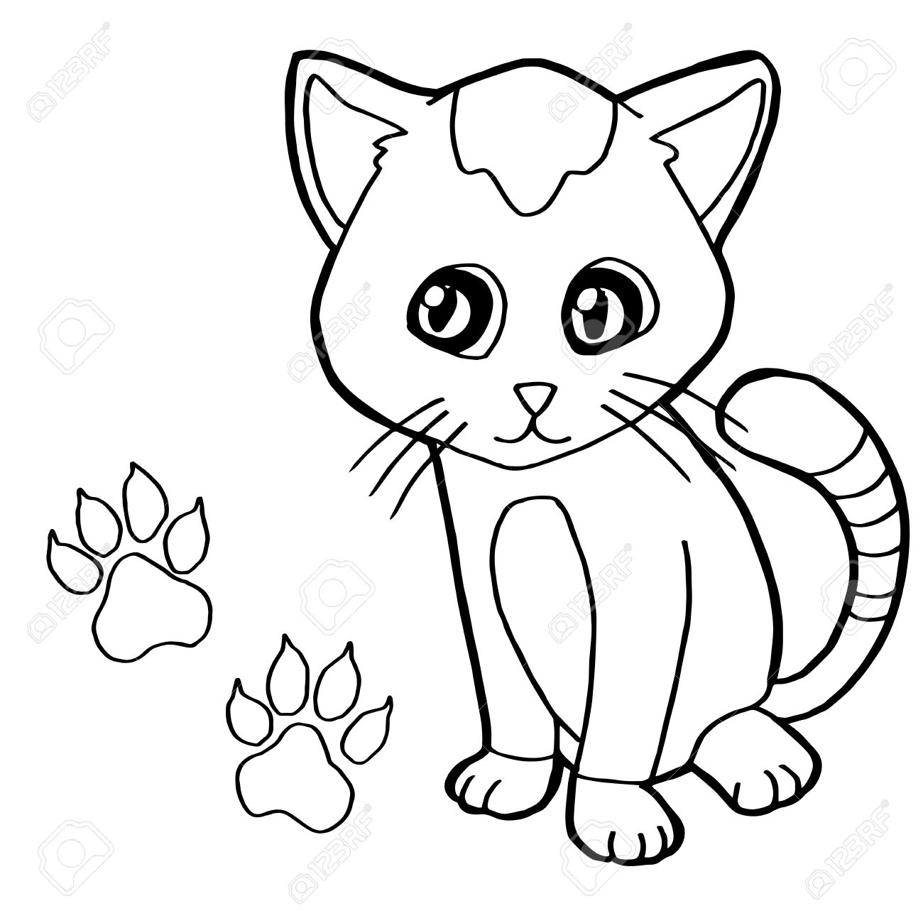 Paw Print With Cat Coloring Page Vector Royalty Free Cliparts ...