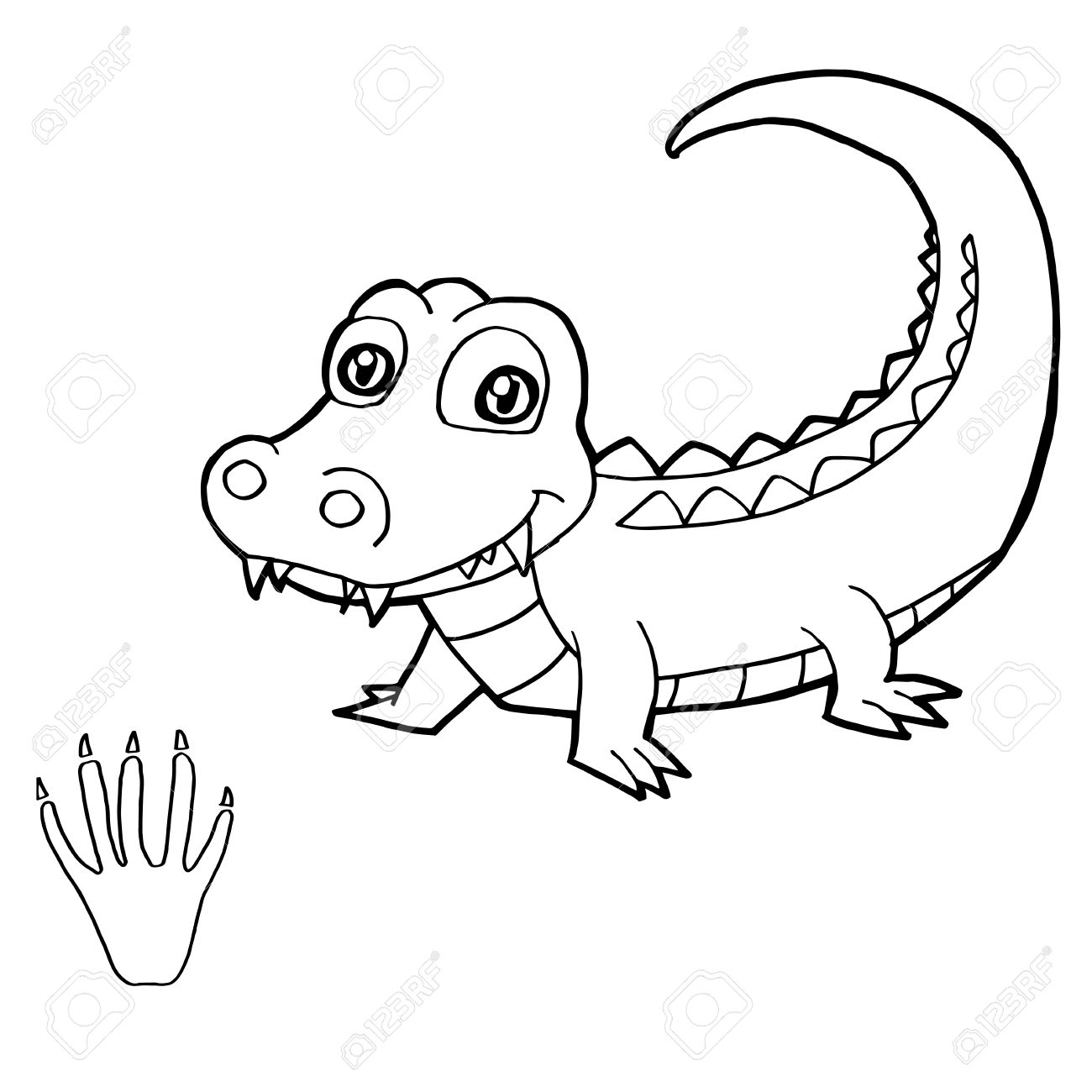Paw Print With Crocodile Coloring Pages Vector Royalty Free Cliparts ...