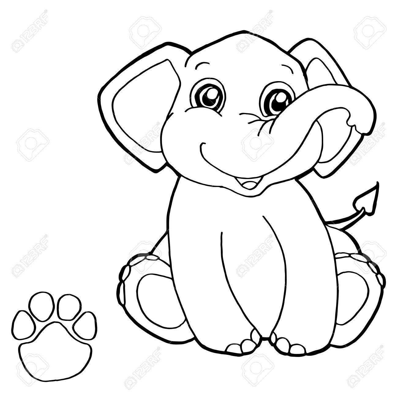 Paw Print With Elephant Coloring Page Vector Stock