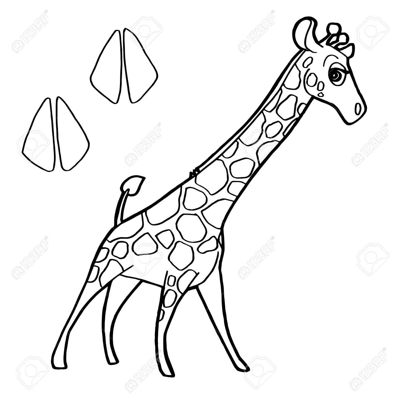 Paw Print With Giraffe Coloring Pages Vector Royalty Free Cliparts ...