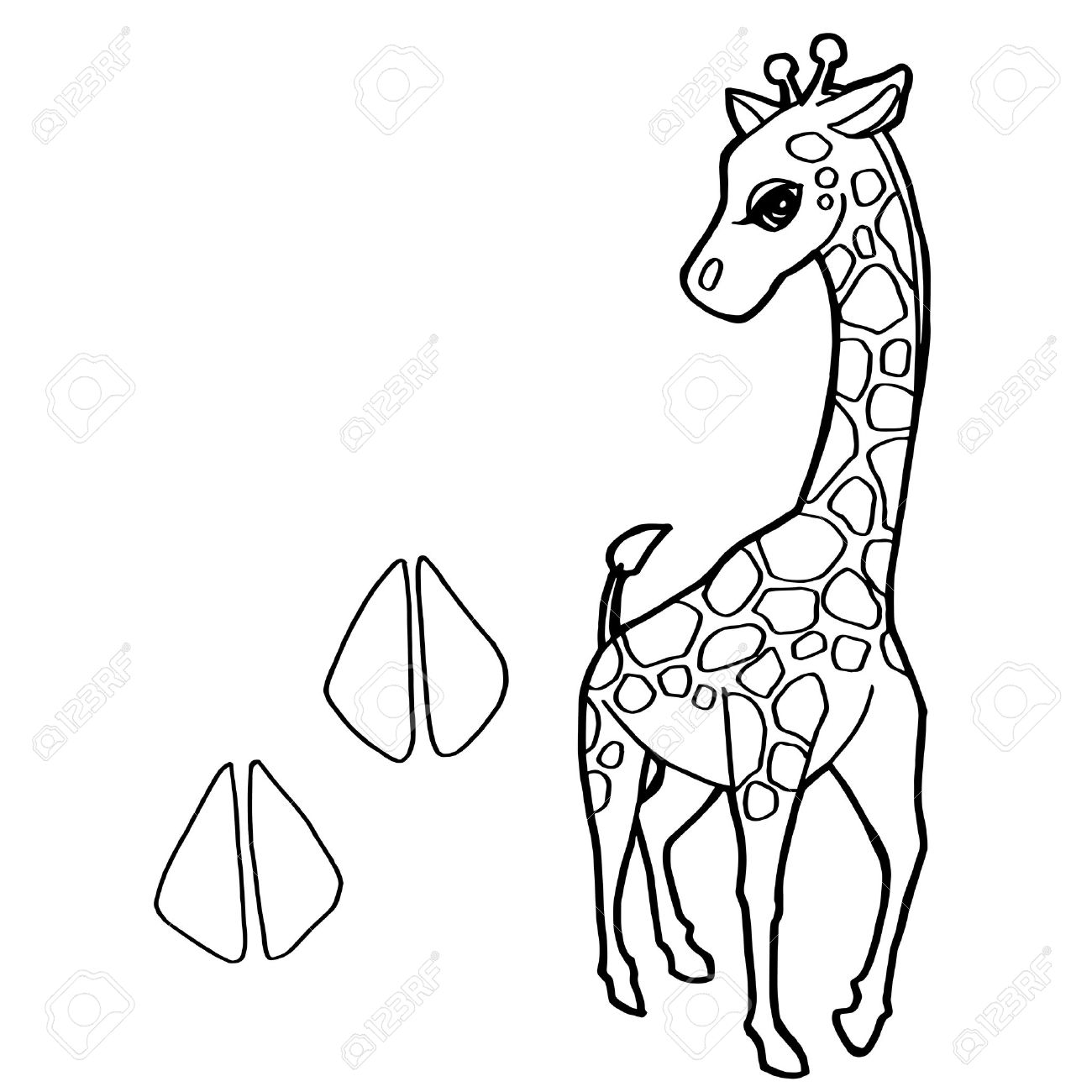 Paw Print With Giraffe Coloring Pages Vector Stock