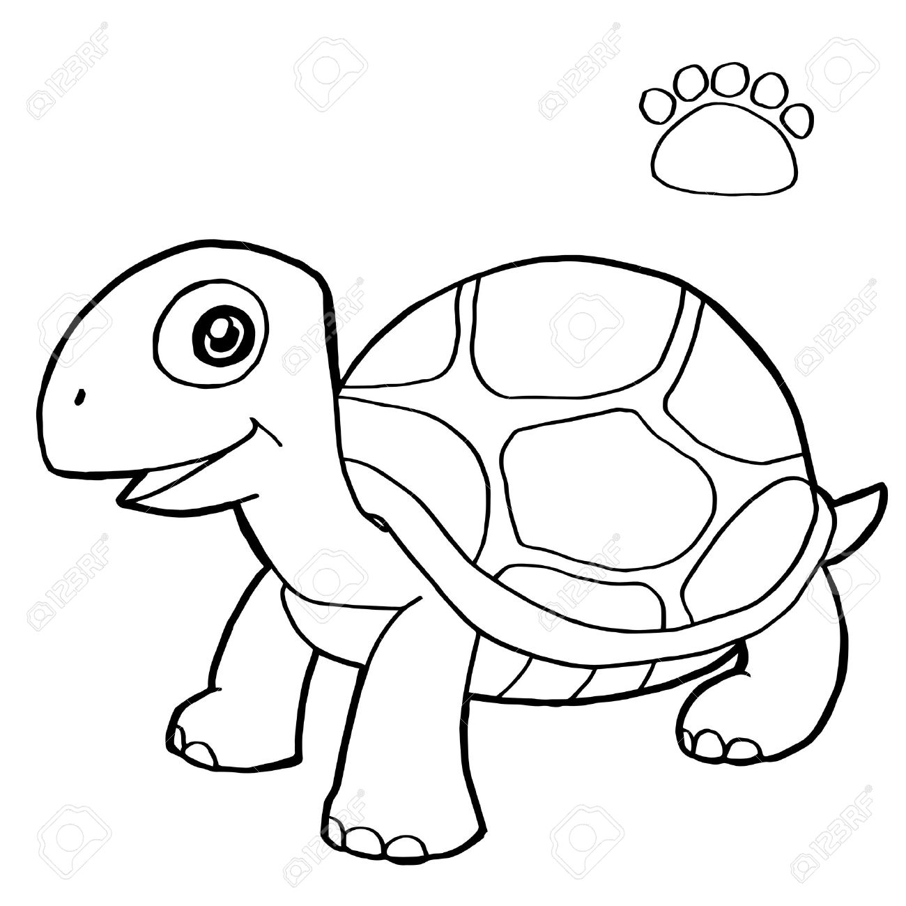 Paw Print With Turtle Coloring Pages Vector Royalty Free Cliparts ...