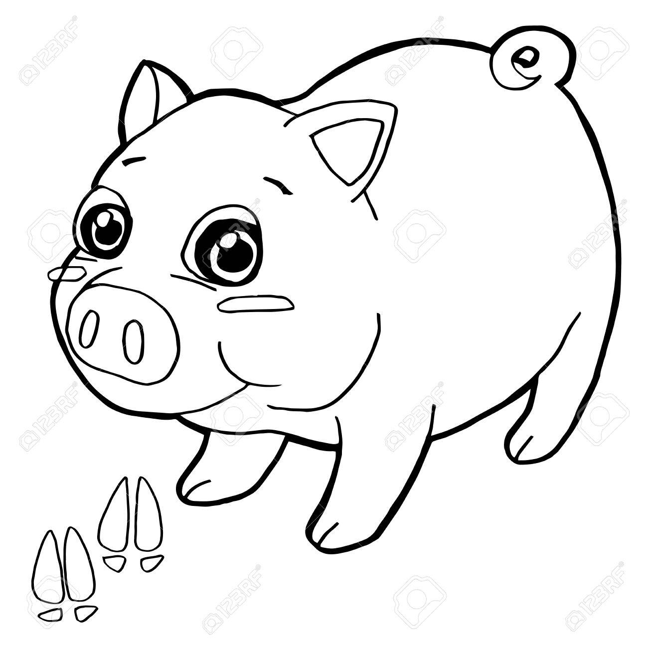 Pig With Paw Print Coloring Pages Vector Stock