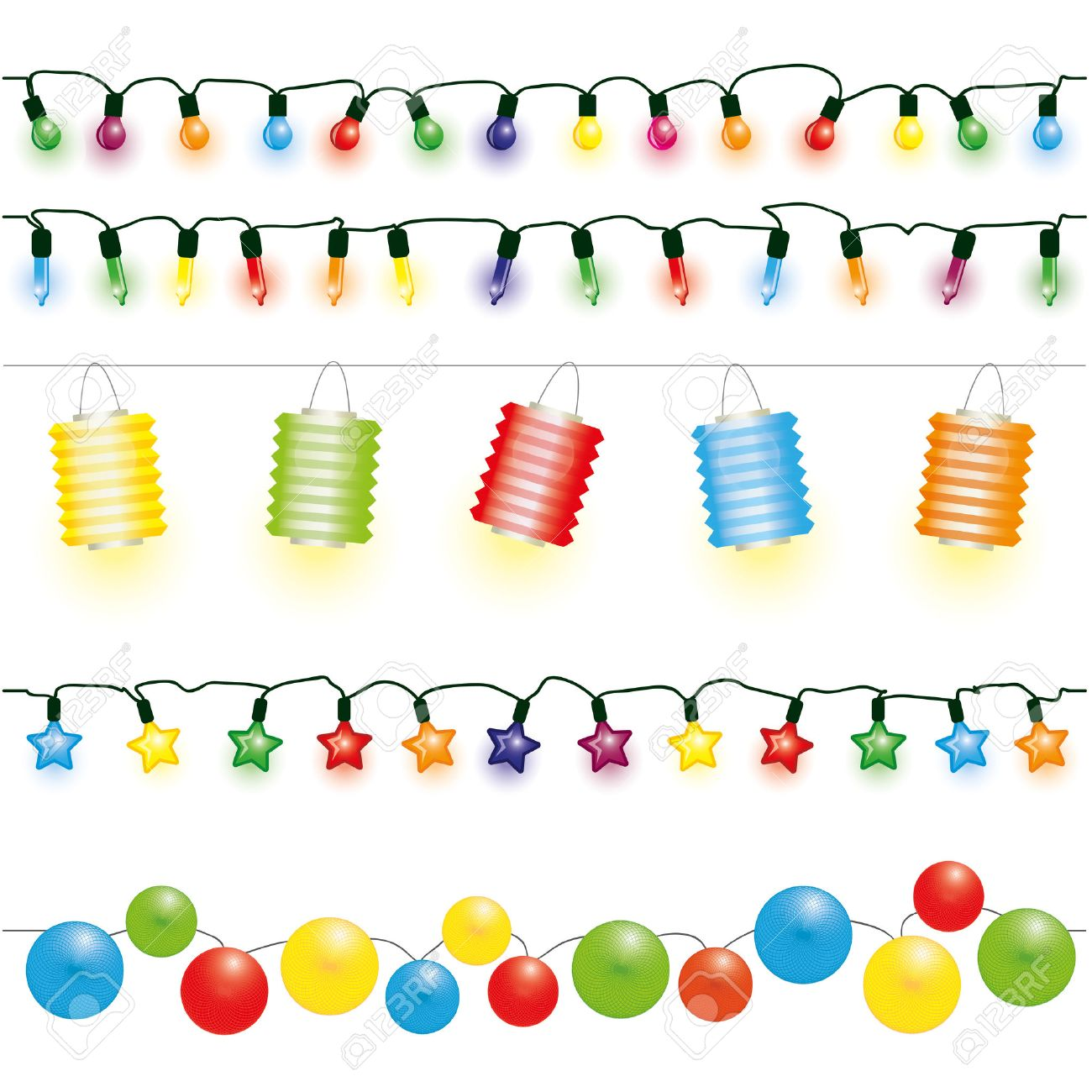 Christmas And Party Lights Vector Stock