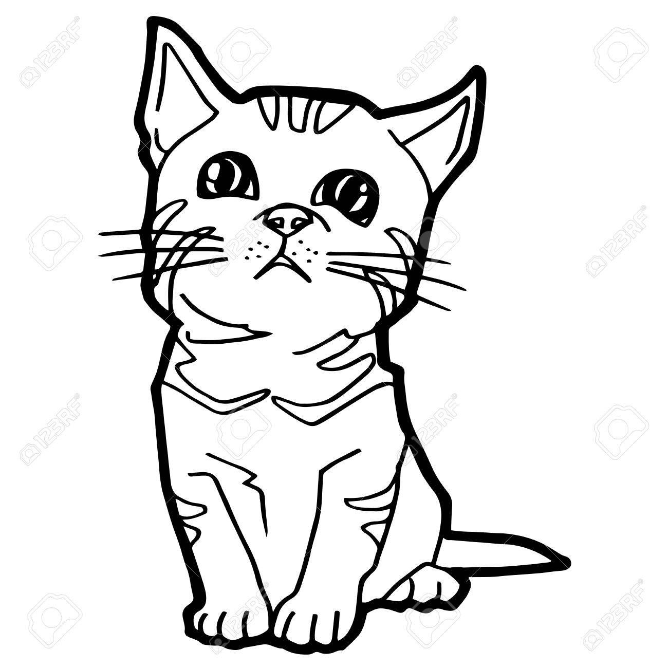 Cartoon-Katze Färbung Seite Für Kind Isoliert Auf Weiß Lizenzfrei ...
