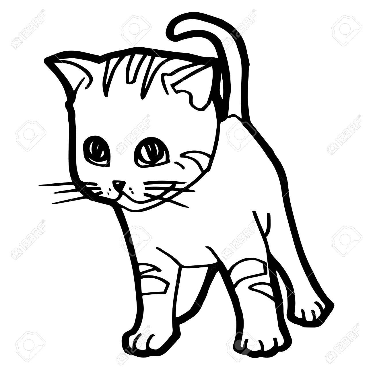 - Cartoon Cat Coloring Page For Kid Isolated On White Royalty Free