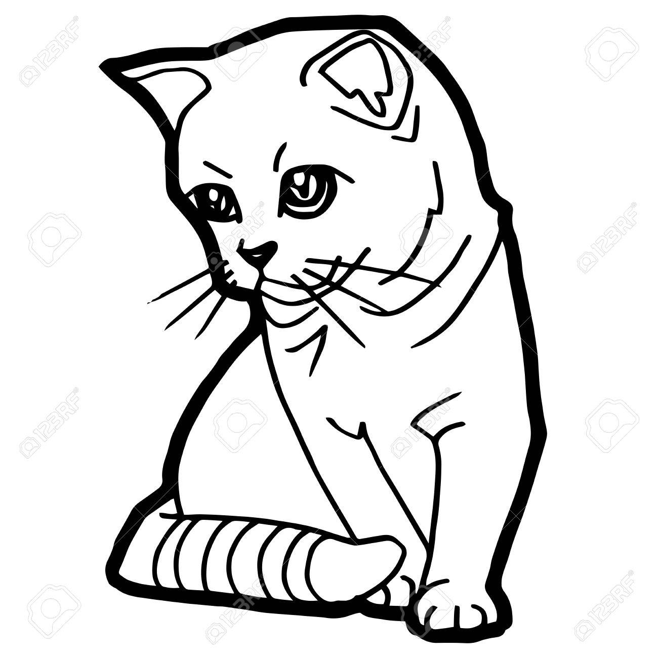Cat Coloring Page Vector Royalty Free Cliparts, Vectors, And Stock ...