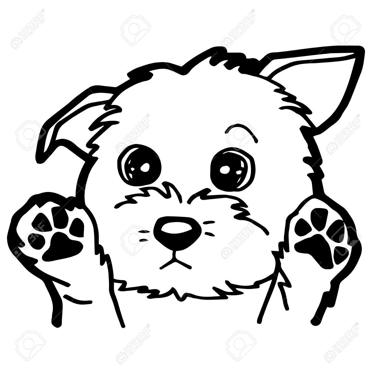 Ilustración De Dibujos Animados De Perro Divertido Para Colorear
