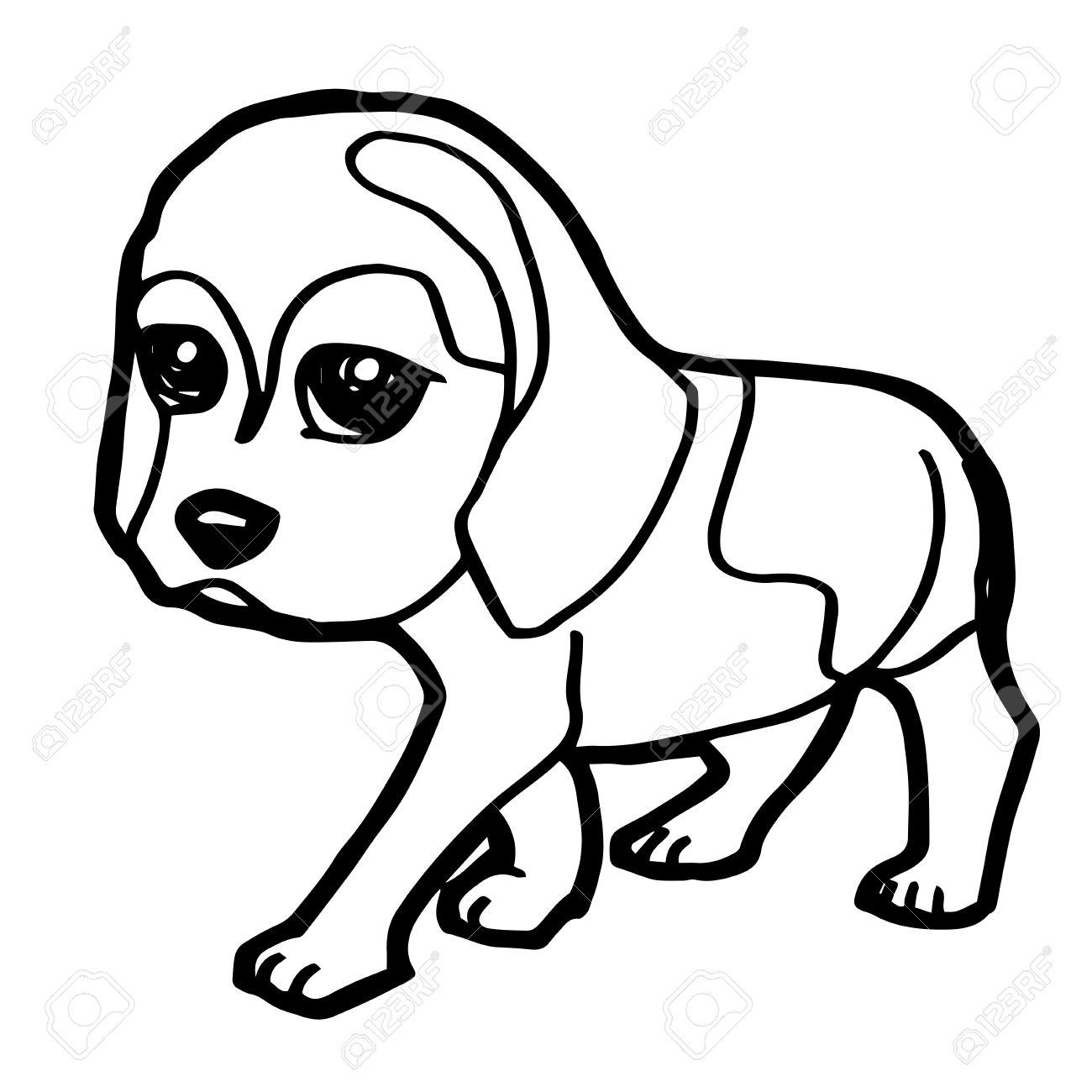 Ilustración De Dibujos Animados De Perro Divertido Para Colorear ...