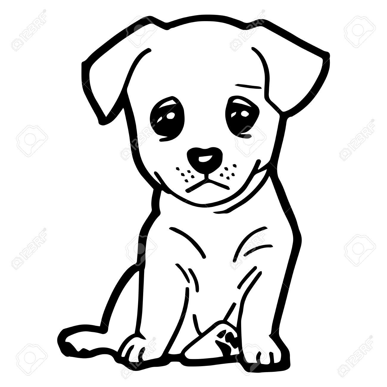 Ilustración De Dibujos Animados De Perro Divertido Para Colorear Libro