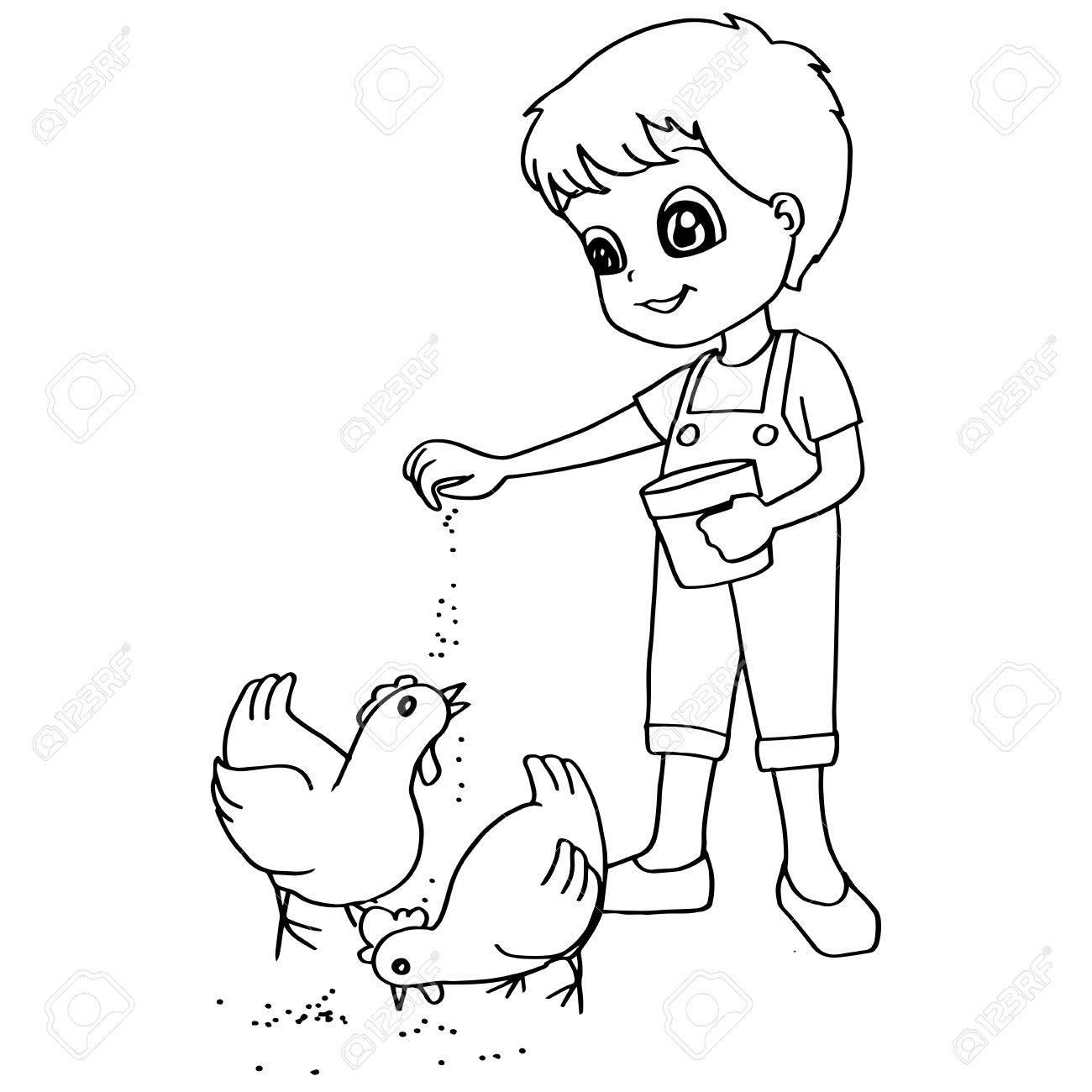 Libro Para Colorear Niño Pollos De Alimentación Del Vector
