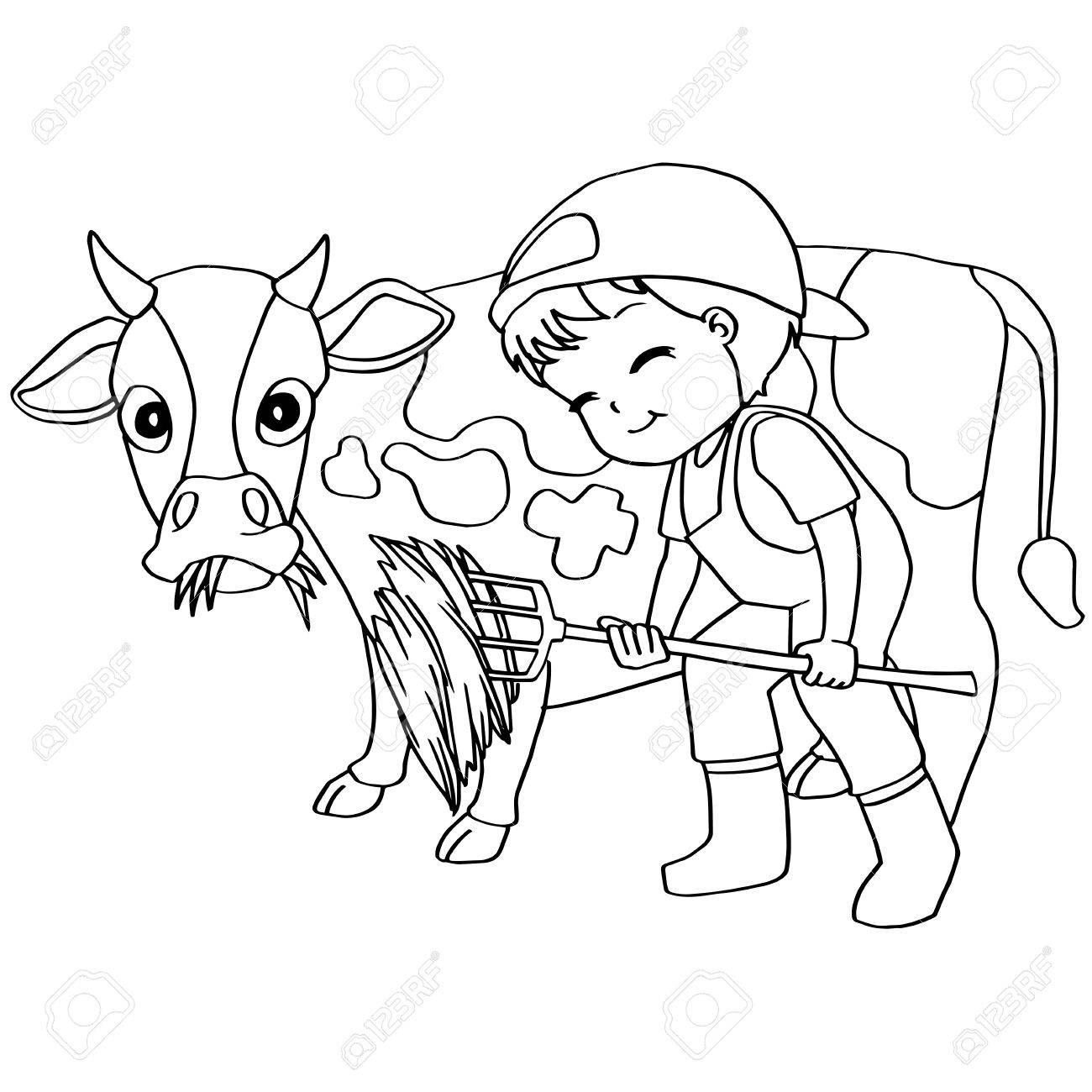 Libro Para Colorear De Vectores Alimentación Infantil Vaca ...