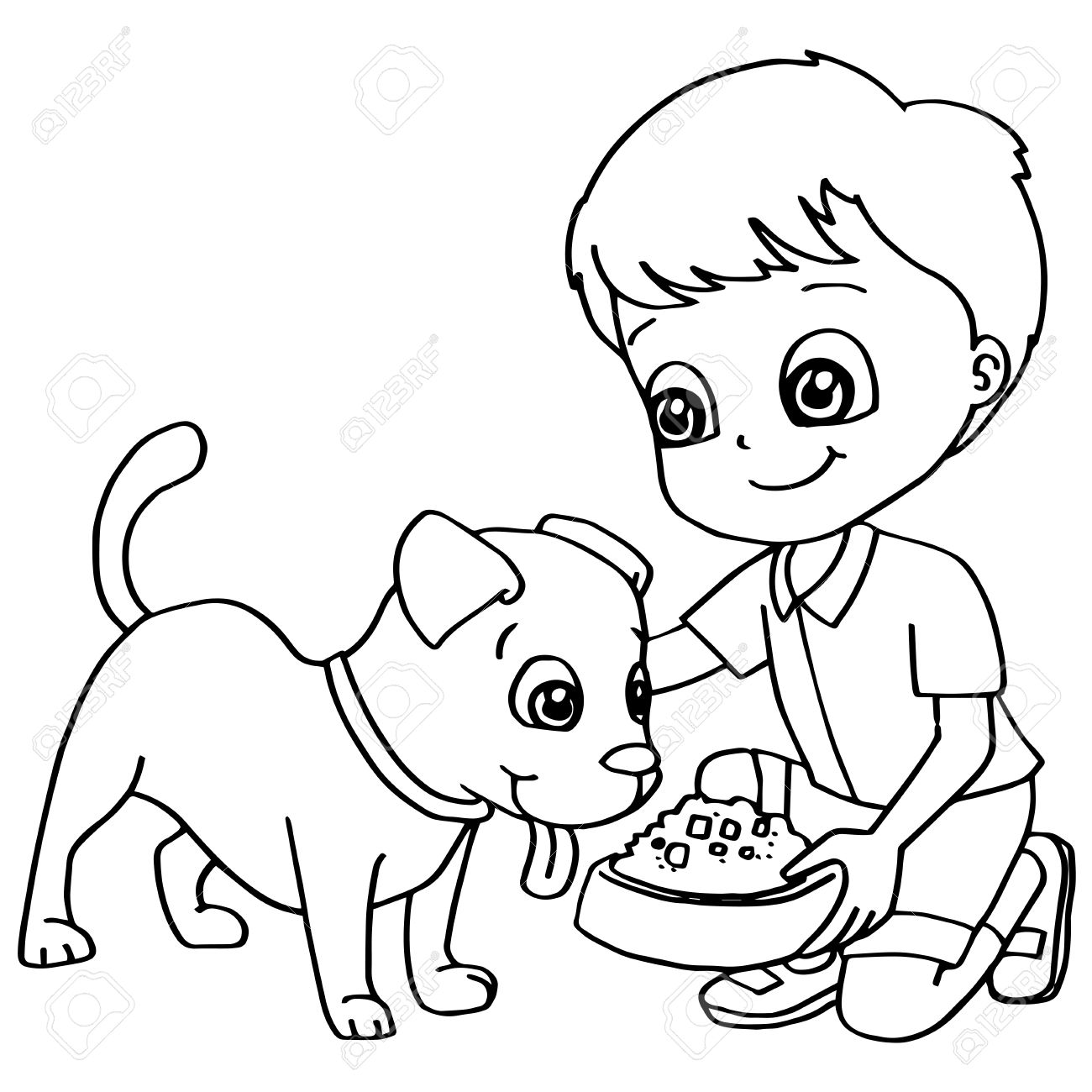 Coloring Book Child Feeding Dogs Vector Royalty Free Cliparts ...