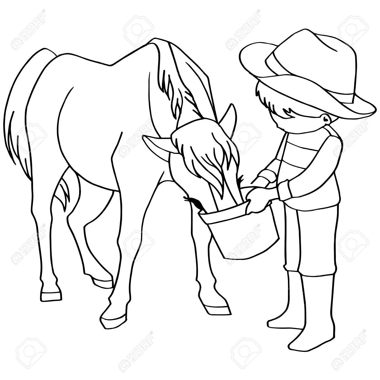 Coloring Book Child Feeding Horse Vector Stock