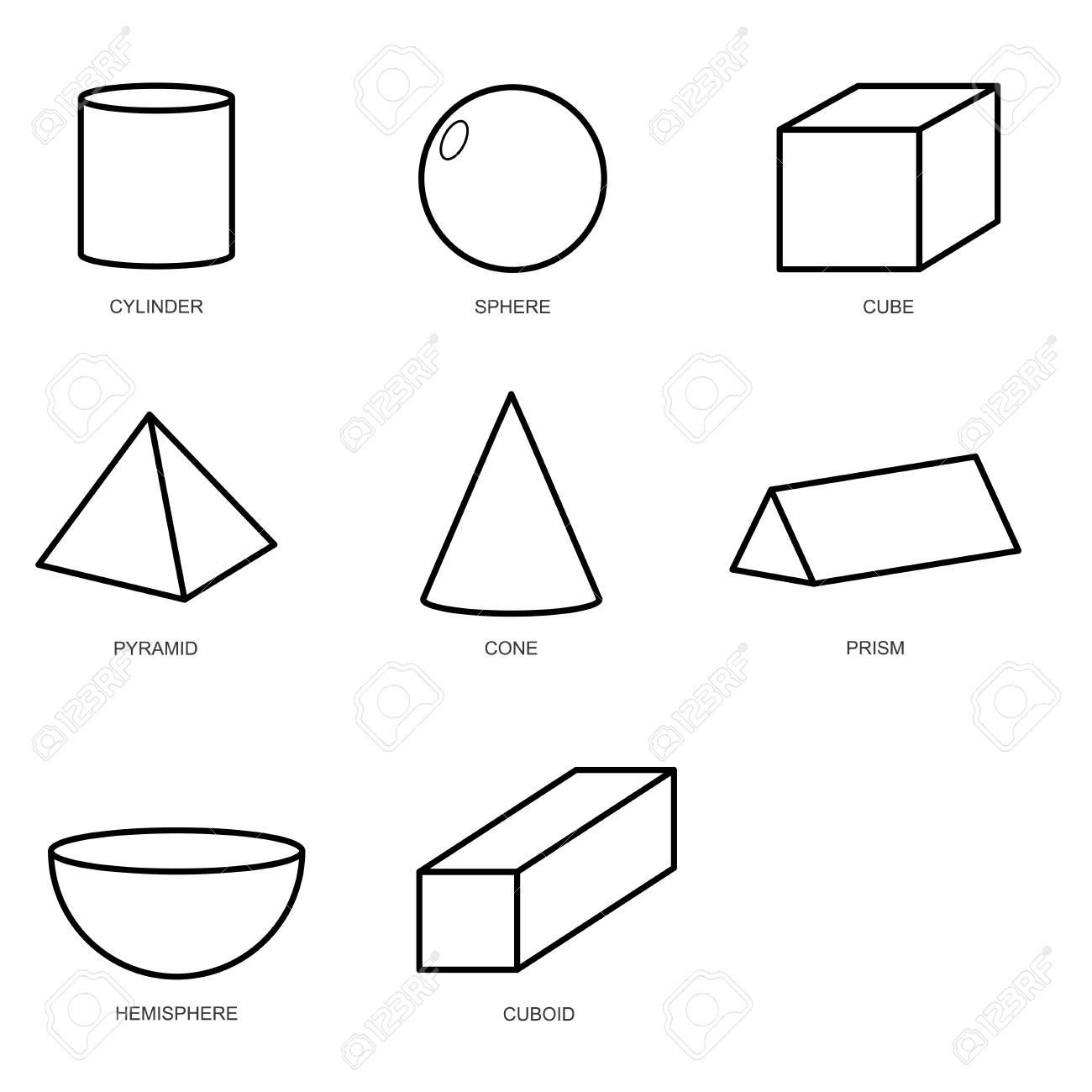 3d shape set isolated on white background vector.illustration