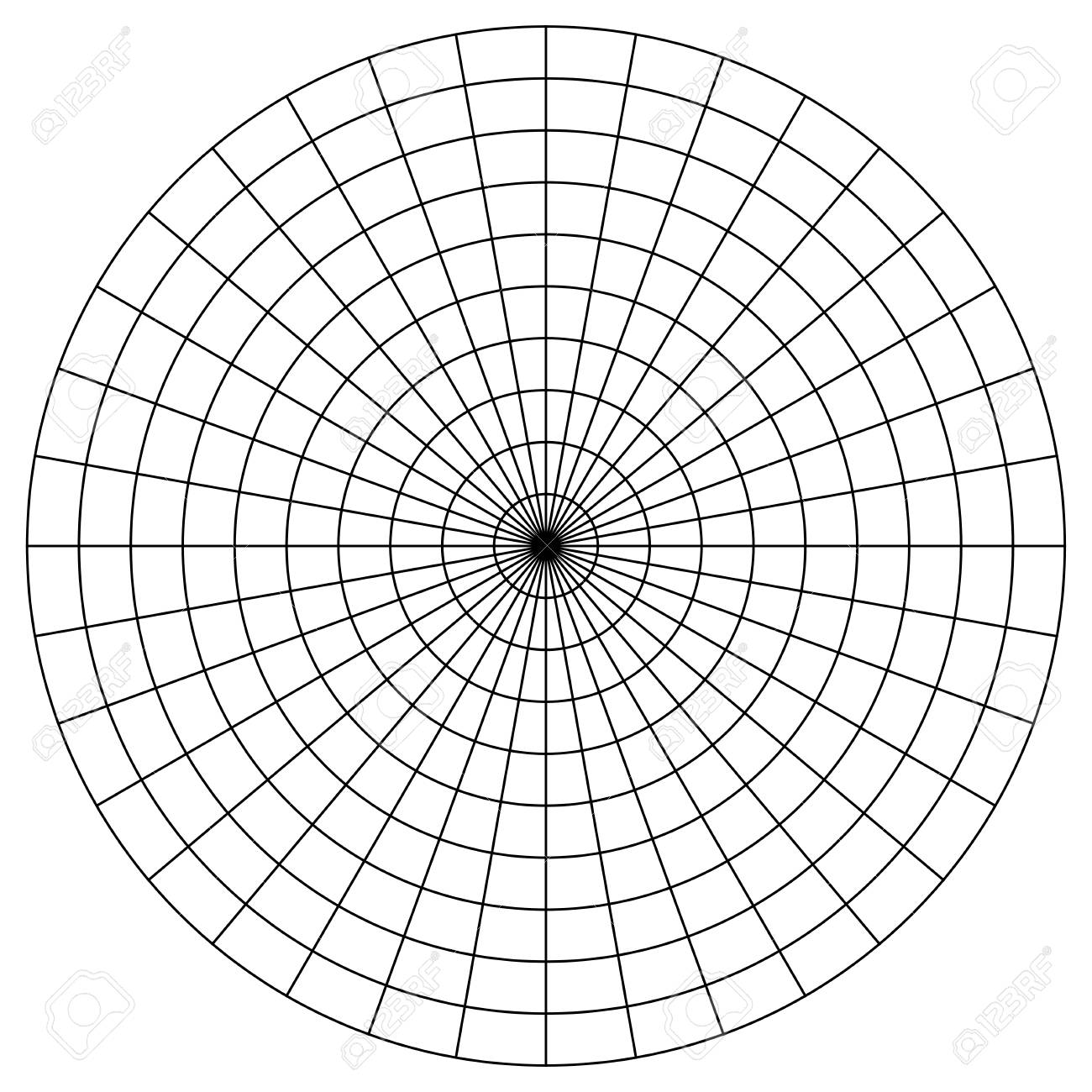 blank polar graph paper protractor pie chart vector royalty free