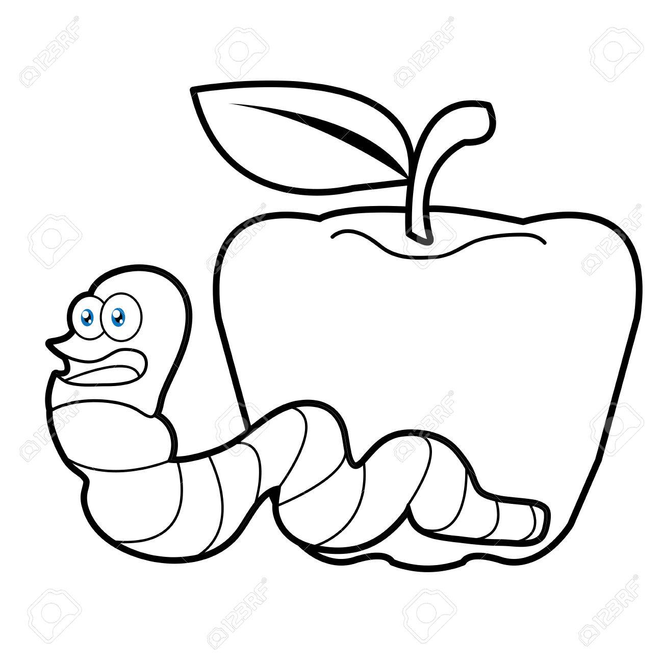 Larva Worm Cartoon Coloring Page For Toddle Royalty Free Cliparts