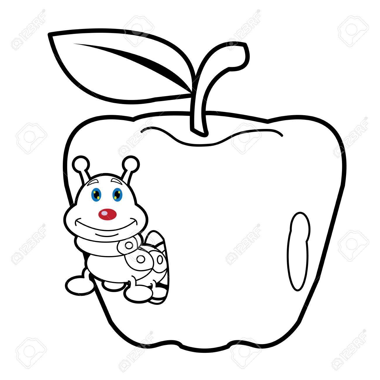 Larva Gusano Y Manzana Dibujos Animados Para Colorear Página Para ...