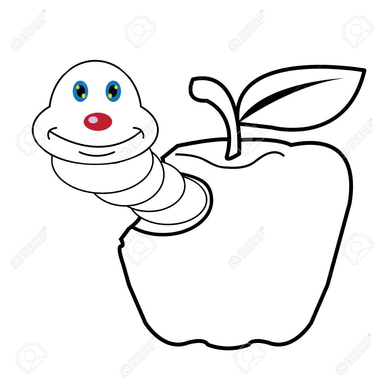 Larva Gusano Y Manzana Dibujos Animados Para Colorear Página Para Toddle