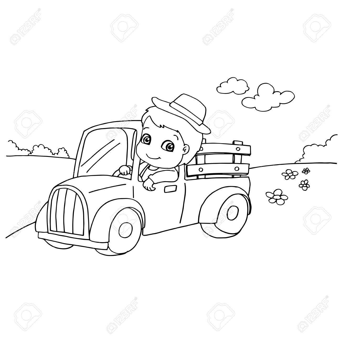 Imagen De Niño Pequeño Conduciendo Un Coche De Juguete Para Colorear ...