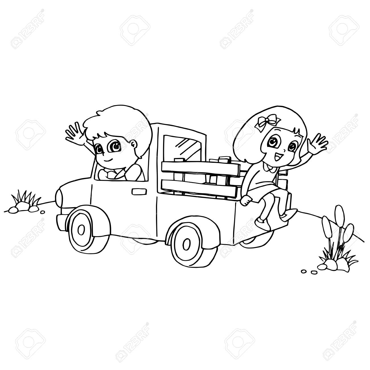 Imagen De Niño Y Amigo Conduciendo Un Coche De Juguete Para Colorear
