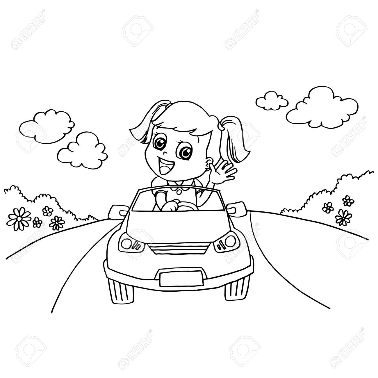 Coloriage Voiture Fille.Image De Petite Fille Conduisant Un Vecteur De Voiture De Voiture A