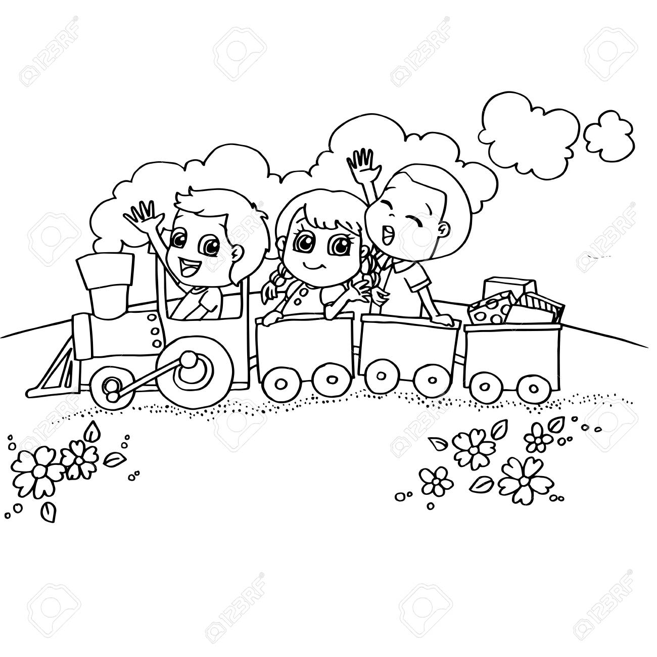 Image Of Little Boy And Friend Driving A Toy Train Coloring Page Vector Stock