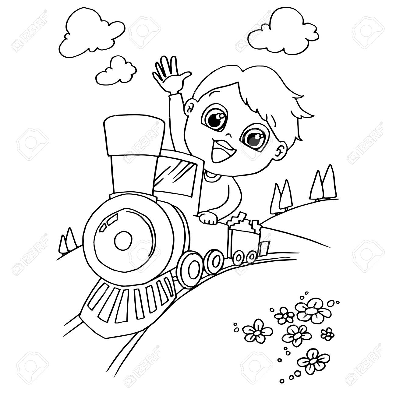 image of Little boy driving a toy train coloring page vector