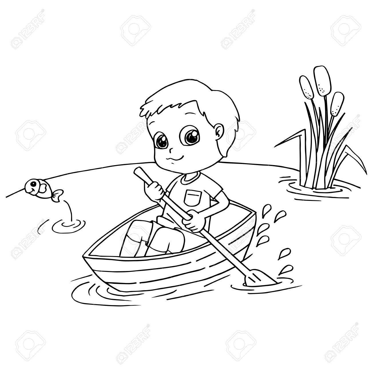 Imagen De Little Boy Remando Un Barco Para Colorear El Vector De La ...