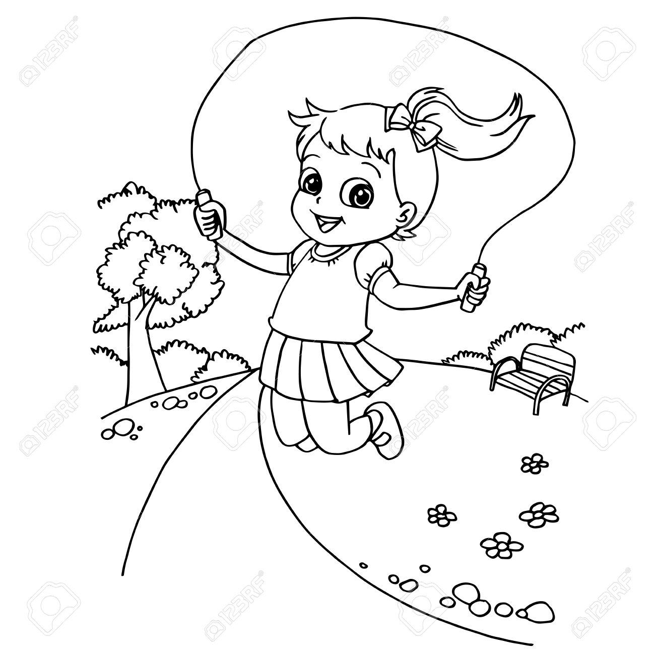 Kid Jumping Rope Cartoon Coloring Page Vector Illustration Stock