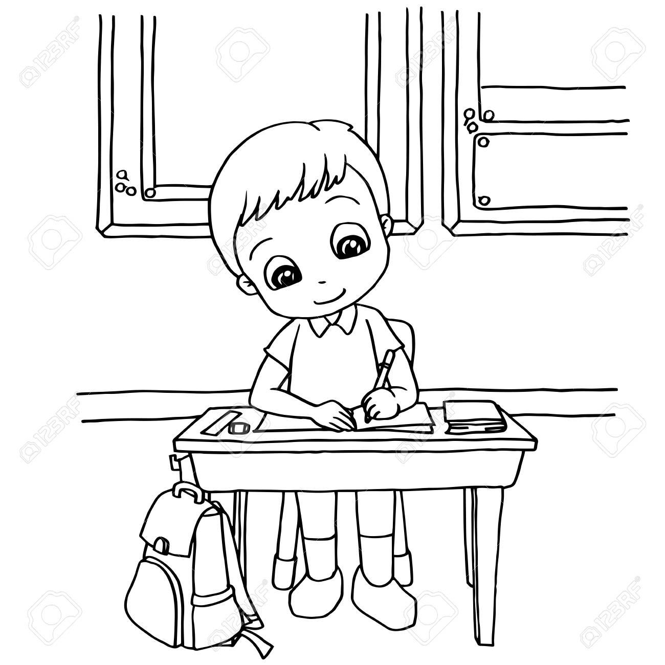 Los Niños Hacen La Tarea En La Clase De Dibujos Animados Para