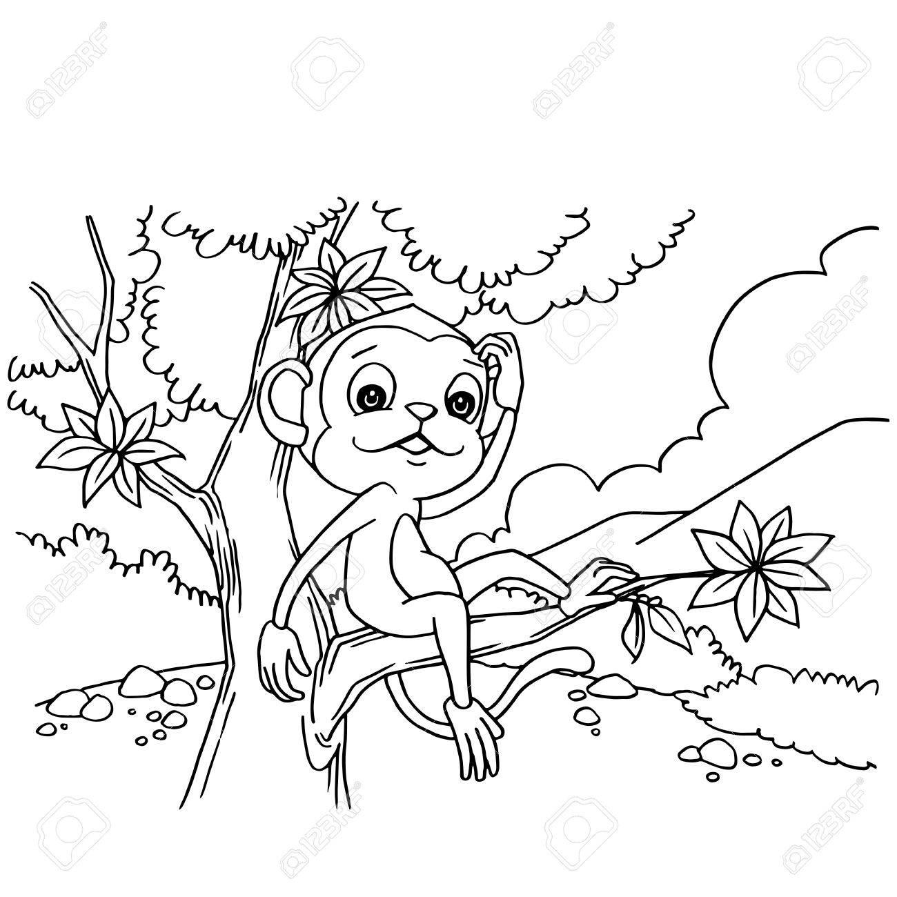 Mono De Dibujos Animados Jugando En El Bosque Para Colorear