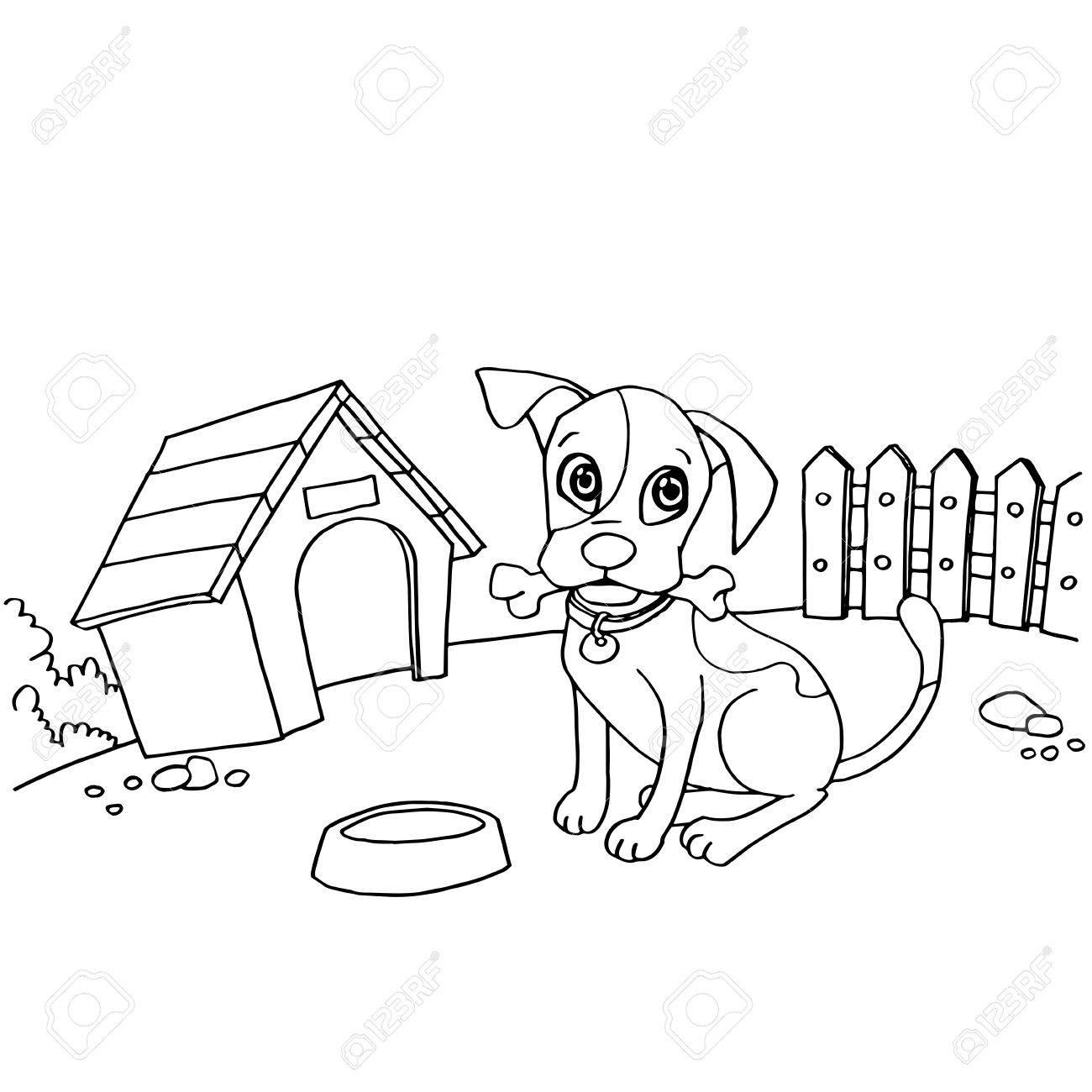 Perro Con Hueso En La Boca En Casa Dibujos Animados Para Colorear