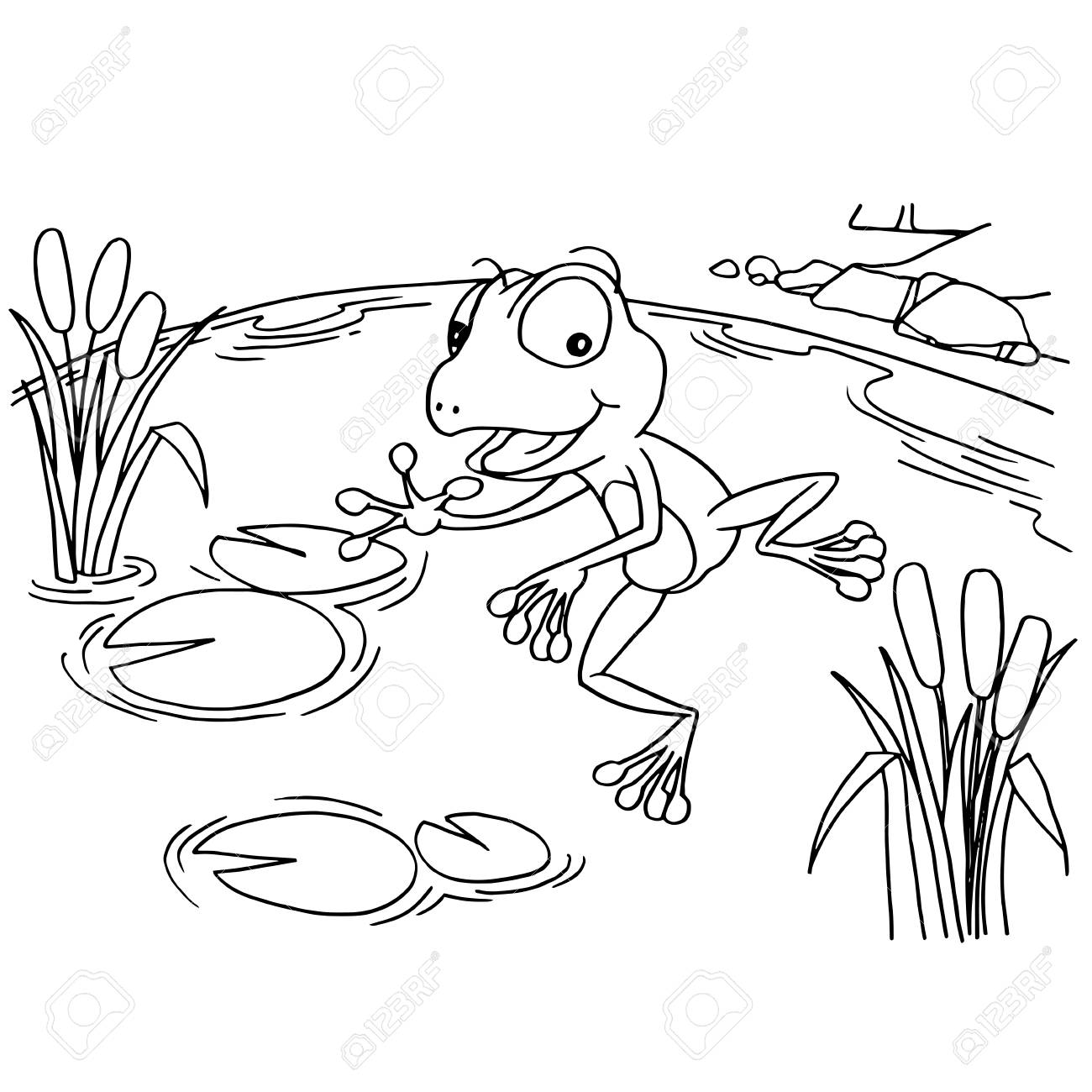 Cartoon Frog At Lake Coloring Page Vector Illustration Royalty Free ...