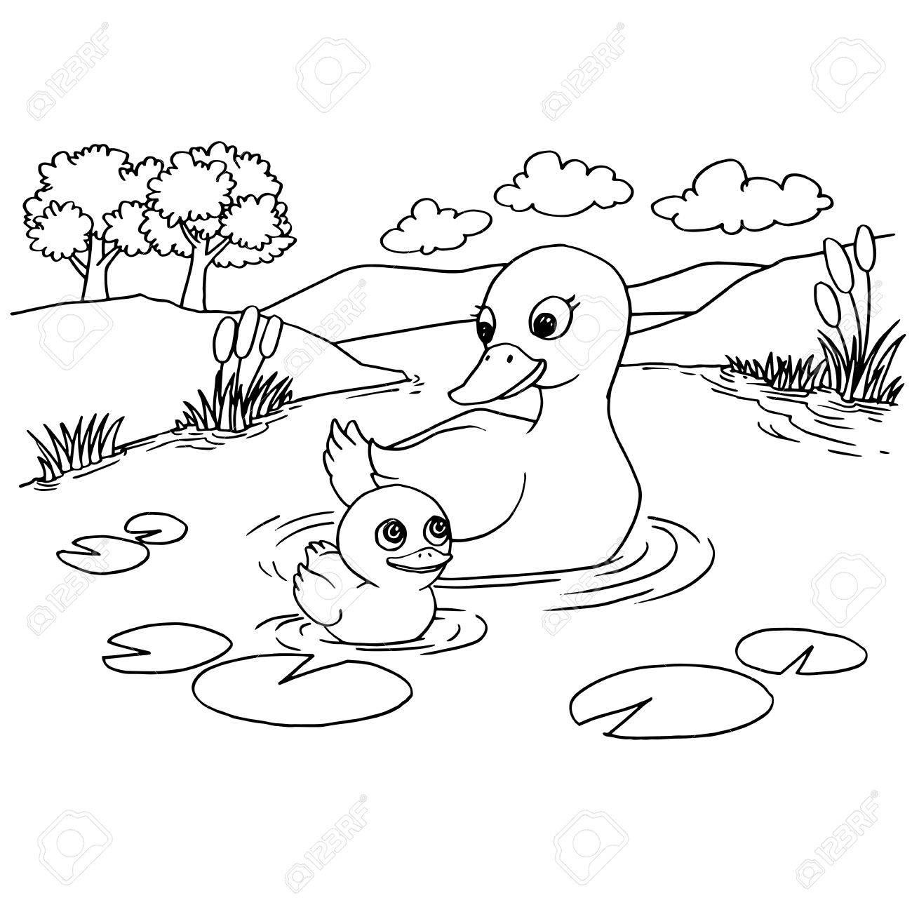 Cartoon Pato Lago Para Colorear Página Ilustración Vectorial ...