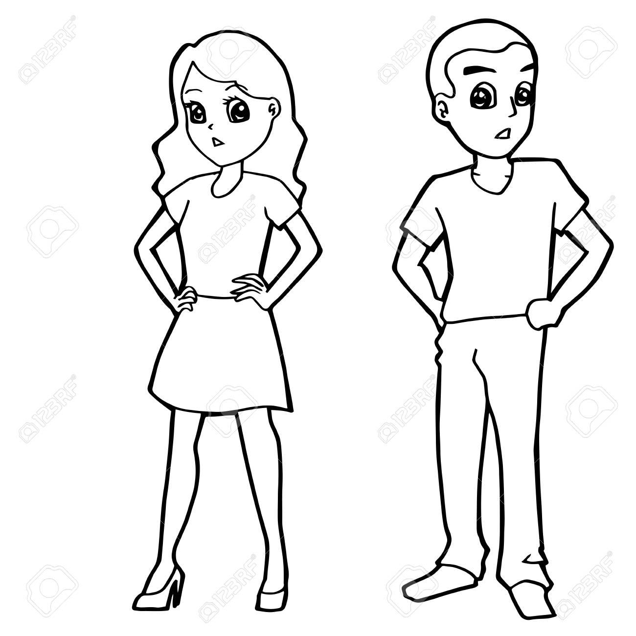 Girl and boy drawing cartoon